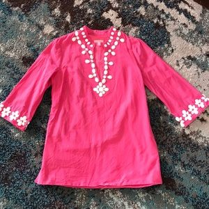 Vintage Lilly Pulitzer beaded pink tunic sz 12